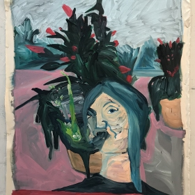 I Am Eating A Cactus / 100 cm x 120 cm / Acrylic on unstretched canvas / 2018