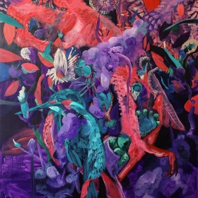 Purple bird / Acrylic on canvas / 190 x 160 cm cm / 2015 / 40.000 Dkr