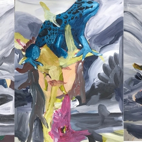 Frogs / Acrylic and oil on MDF  / 50 x 120 cm cm / 2017 /