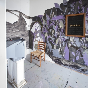 Installation view - Mural - Video - Chair