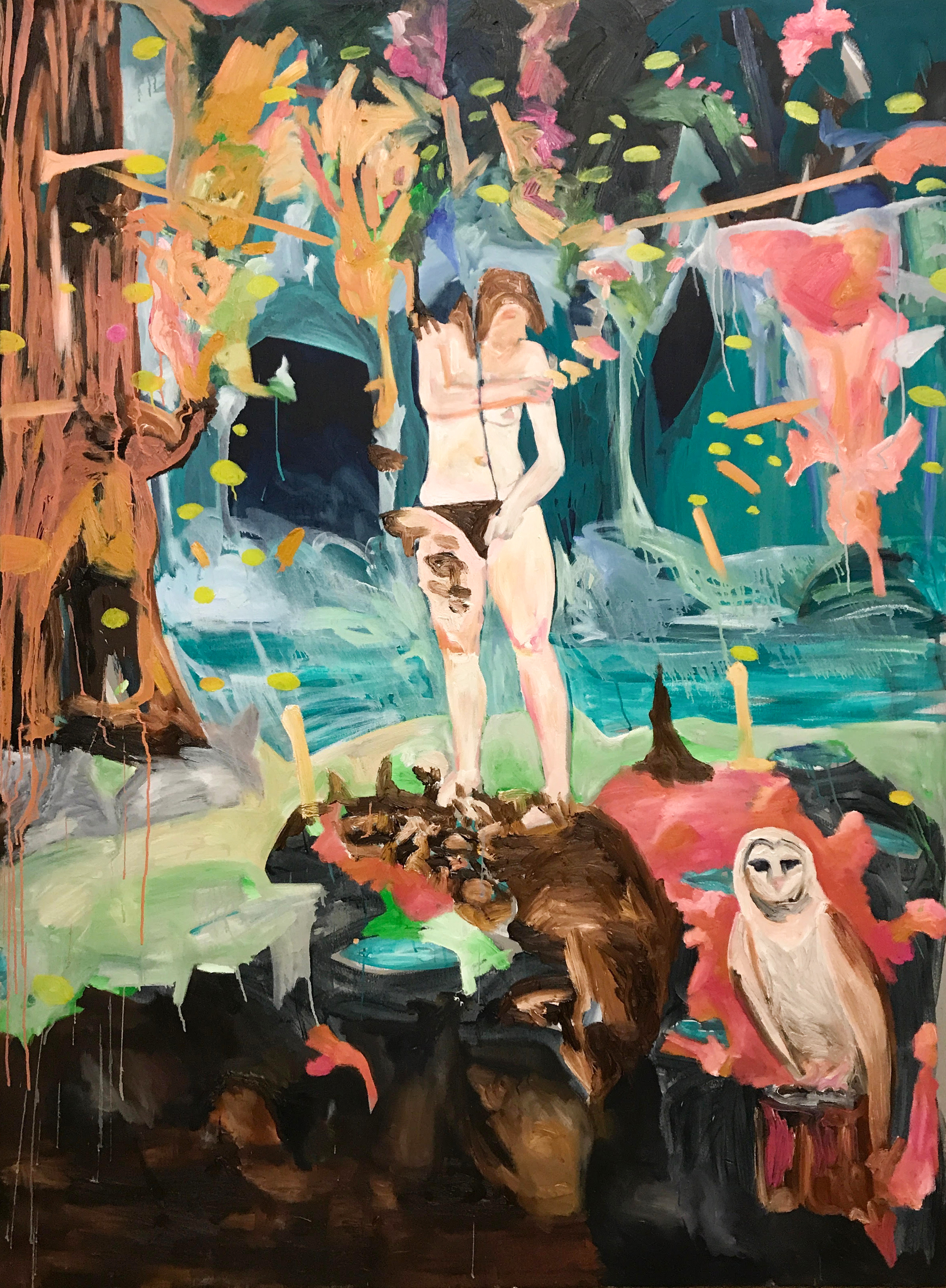 I Am Picking My Mushrooms / Oil on canvas / 180 cm x 160 cm / 2019